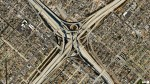 overhead shot road interchange los angeles